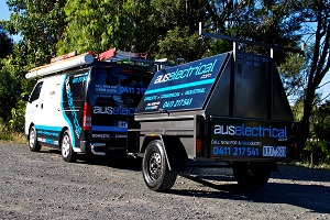 Aus Electrical van and trailer from the back